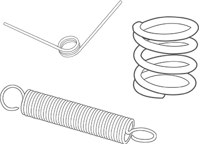 compression, extension and torsion springs